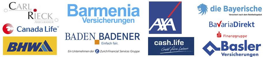Carl Rieck, Barmenia, AXA, die Bayrische, Bavaria Direkt, Basler Versicherungen, Baden Badener, Cash Life, BHW, Canada Life