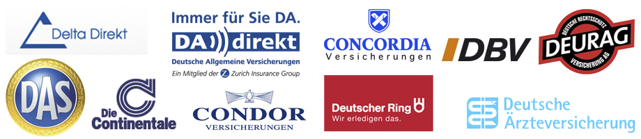 Derlta Direct, DA Direkt, Concordia, DBV, Deurag, DAS, Die Continentale, Condor, Deutscher Ring, Deute Arzteversicherung