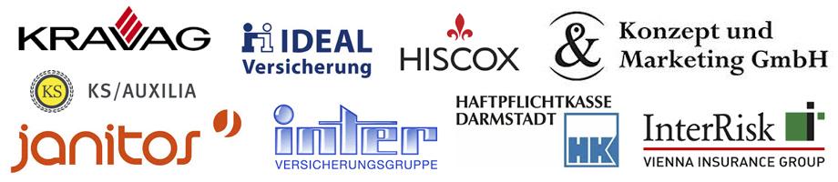 Kravag, Ideal Versicherung, HISCOX, Konzept und Marketing GmbH, KS-Auxilia, Janito, Inter Versicherungsgruppe, Haftpflichtkasse Darmstadt, Interrisk