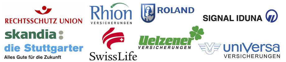 Rechtsschutz Union, Rhion, Roland, Signal Iduna, Skandia, Die Stuttgarter, Swiss Life, Uelzener, Universa